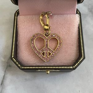 Juicy Couture Pave Pink Gold Peace Heart Charm